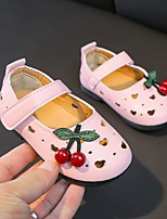 cheap -Girls' Sandals Comfort Flower Girl Shoes Princess Shoes PU Little Kids(4-7ys) Big Kids(7years +) Daily Home Walking Shoes White Red Pink Spring Summer
