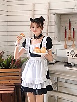 cheap -Lolita Maid Uniforms Cute Women's Japanese Cosplay Costumes Black Solid Color / Dress / Apron
