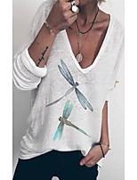 cheap -Women's T shirt Animal Long Sleeve Print U Neck Tops Basic Basic Top White