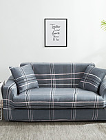 cheap -Grey Grid Print Dustproof All-powerful Slipcovers Stretch Sofa Cover Super Soft Fabric Couch Cover With One Free Boster Case(Chair/Love Seat/3 Seats/4 Seats)