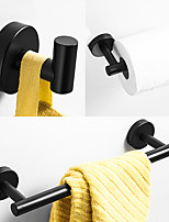 cheap -Bathroom Accessory Sets Mattle Black Stainless Steel Contain with Tower Bar,Robe Hook and Toliet Papaer Holder Painted Finishes