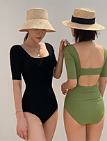 cheap -Women's One Piece Swimsuit Spandex Swimwear Quick Dry Short Sleeve Backless - Swimming Surfing Water Sports Solid Colored Summer