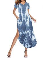 cheap -Women's Shift Dress Maxi long Dress Black Blue Red Wine Green Navy Blue Light Blue Short Sleeve Solid Color Tie Dye Split Spring Summer Elegant 2021 S M L XL XXL