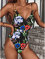 cheap -Women's One Piece Swimsuit Spandex Swimwear Bodysuit Quick Dry Breathable Sleeveless Backless - Swimming Surfing Water Sports Floral / Botanical Summer