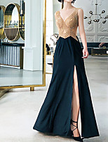cheap -Mermaid / Trumpet Luxurious Sexy Engagement Formal Evening Dress V Neck Sleeveless Floor Length Spandex with Crystals 2021