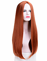 cheap -Long Straight Wigs Synthetic Orange Color Women's Wig Cospaly Central Part Hair Silver Grey White Red Colour
