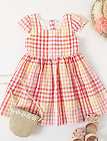 cheap -Kids Little Girls' Dress Red Plaid Causal Festival Ruched Blushing Pink Knee-length Short Sleeve Princess Cute Dresses Children's Day Summer Regular Fit 3-6 Years