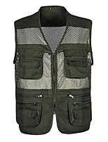 cheap -Men's Hiking Vest / Gilet Fishing Vest Sleeveless Vest / Gilet Jacket Top Outdoor Quick Dry Lightweight Breathable Sweat wicking Autumn / Fall Spring Summer Army green#网眼 Light gray#网眼 Hunting