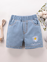 cheap -Toddler Girls' Shorts Graphic Print Light Blue Active 2-6 Years