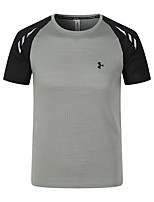 cheap -Men's T shirt Hiking Tee shirt Short Sleeve Crew Neck Tee Tshirt Top Outdoor Quick Dry Lightweight Breathable Soft Autumn / Fall Spring Summer Polyester Solid Color Dark Grey Black Blue Hunting
