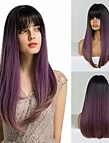 cheap -asissia wig black-brown to pink-purple gradient color side part long wavy straight wig heat-resistant synthetic daily ladies' wig (black-brown to pink-purple gradient color) (purple)
