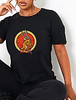 cheap -Women's T shirt Graphic Reindeer Animal Print Round Neck Tops 100% Cotton Basic Basic Top Black