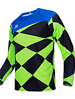 cheap -CAWANFLY Men's Long Sleeve Cycling Jersey Downhill Jersey Downhill Jersey with Pants Winter Blue+Green Novelty Funny Bike Tee Tshirt Jersey Top Mountain Bike MTB Road Bike Cycling Quick Dry Breathable
