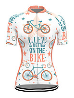cheap -21Grams Women's Short Sleeve Cycling Jersey Spandex White Bike Top Mountain Bike MTB Road Bike Cycling Breathable Sports Clothing Apparel / Stretchy / Athleisure
