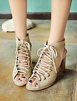 cheap -Women's Sandals Chunky Heel Peep Toe PU Synthetics Black Beige