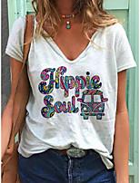 cheap -Women's T shirt Letter Print V Neck Tops Cotton Basic Basic Top White