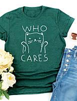 cheap -Women's T shirt Cat Graphic Letter Print Round Neck Tops Basic Basic Top Black Blue Blushing Pink