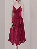 cheap -A-Line Elegant Vintage Homecoming Cocktail Party Dress V Neck Sleeveless Ankle Length Lace with Lace Insert 2021