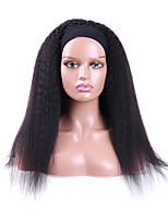 cheap -Kinky Straight Headband Wigs Italian Yaki Human Hair Wig for Black Women Easy to Wear Wig with Black Headband 150 Density 12-30 Inch Natural Color Machine Made None Lace Wig