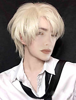 cheap -Fashion Men Short Wig Light Yellow Blonde Synthetic Wigs With Bangs For Male Women Boy Cosplay Costume Anime Halloween