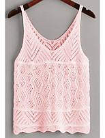 cheap -Women's Knitted Hole Solid Color Vest Sleeveless Sweater Cardigans Strap Fall Spring White Black Purple