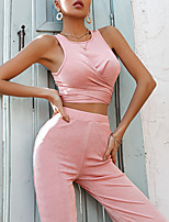 cheap -Women's Basic Streetwear Plain Vacation Casual / Daily Two Piece Set Crop Top Shirred Cami Top Pant Ruched Tops