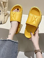 cheap -Women's Sandals Flat Heel Round Toe PU Solid Colored Black Yellow Orange