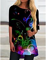 cheap -Women's T Shirt Dress Tee Dress Short Mini Dress Black Half Sleeve Color Block Geometric Print Spring Summer Round Neck Casual 2021 S M L XL XXL 3XL