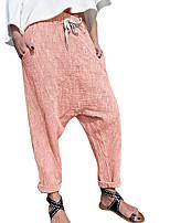 cheap -Women's Basic Soft Comfort Daily Home Chinos Pants Plain Full Length Pocket Elastic Drawstring Design Purple Blushing Pink Khaki Royal Blue