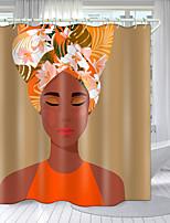 cheap -Orange Master Digital Printing Shower Curtain Shower Curtains  Hooks Modern Polyester New Design