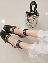 cheap -Women's Sandals Chunky Heel Square Toe PU Synthetics Black Khaki