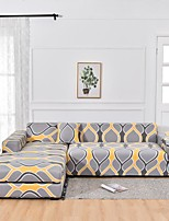 cheap -Gray  Yellow Print Dustproof All-powerful  Stretch L Shape Sofa Cover Super Soft Fabric with One Free Pillow Case