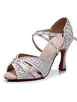 cheap -Women's Latin Shoes Heels High Heel Crystal / Rhinestone Crystal Heel High Heel Open Toe White Black Khaki Buckle Glitter Crystal Sequined Jeweled / Satin / Satin / Silk / Professional