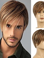 cheap -Brown Wig Short Layered Straight Hair Cosplay Synthetic Wig For Men