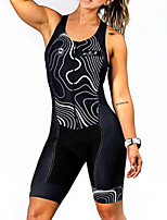 cheap -Women's Men's Sleeveless Cycling Jersey with Shorts Triathlon Tri Suit Black Bike Quick Dry Breathable Sports Lines / Waves Mountain Bike MTB Road Bike Cycling Clothing Apparel / Stretchy / Athletic