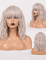 cheap -Cosplay Costume Wig Synthetic Wig Wavy Loose Curl Neat Bang Wig Silver grey Synthetic Hair Women's Odor Free Fashionable Design Soft Dark Gray