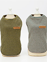 cheap -Dog Cat Vest Stripes Leisure Stripes Dailywear Casual / Daily Dog Clothes Puppy Clothes Dog Outfits Breathable Light Yellow Light Green Costume for Girl and Boy Dog Padded Fabric S M L XL XXL