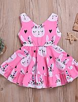 cheap -Kids Little Girls' Dress Cat Graphic Print Blushing Pink Knee-length Sleeveless Active Dresses Summer Regular Fit 2-6 Years