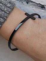 cheap -hip hop jewelry stainless steel light body cross open bracelet black men's and women's bracelets simple style