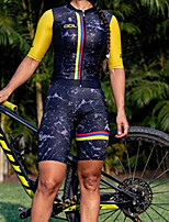 cheap -Women's Men's Short Sleeve Triathlon Tri Suit Summer Black / Yellow Patchwork Bike Quick Dry Breathable Sports Patchwork Mountain Bike MTB Road Bike Cycling Clothing Apparel / Stretchy / Athletic