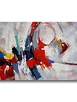 cheap -Stretched Oil Painting Hand Painted Canvas Abstract Comtemporary Modern High Quality Blue Red Ready to Hang