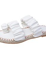 cheap -Women's Sandals Flat Heel Round Toe PU Color Block White Black Beige