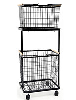 cheap -Storage Baskets  Iron Black/White Mobile,Layered Clothes Basket