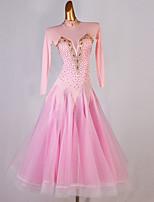 cheap -Ballroom Dance Dress Crystals / Rhinestones Women's Training Performance Long Sleeve Chinlon Mesh Organza