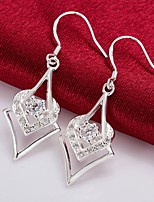 cheap -Women's Drop Earrings Geometrical Sweet Heart Fashion Silver Plated Earrings Jewelry Silver For Christmas Party Evening Street Gift Date 1 Pair