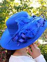 cheap -Vintage Style Elegant Tulle / Straw Hats / Headwear / Straw Hats with Appliques / Flower / Polka Dot 1 PC Casual / Holiday Headpiece