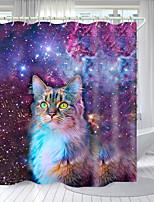 cheap -Starry Sky Kitten Digital Printing Shower Curtain Shower Curtains Hooks Modern Polyester New Design