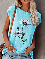 cheap -Women's T shirt Floral Print Round Neck Tops Basic Basic Top White Black Blue