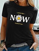 cheap -Women's T shirt Floral Letter Print Round Neck Tops Basic Basic Top Black