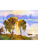 cheap -IARTS Hand Painted The glow of sunset Oil Painting   with Stretched  For Home Decoration